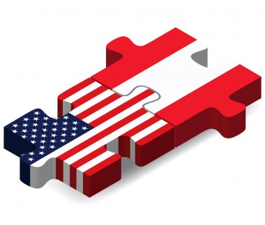 """Картина, постер, плакат, фотообои """"США и Австрии флаги в головоломка """", артикул 68722603"""