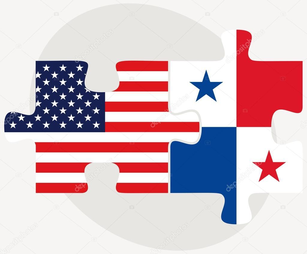 Estados Unidos Y Panamá Banderas En Puzzle