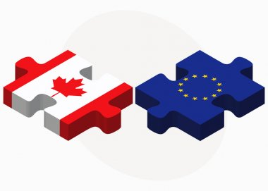 Canada and European Union Flags in puzzle