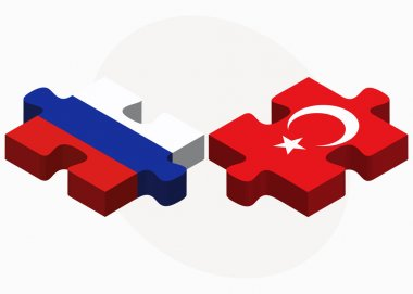 Russian Federation and Turkey Flags in puzzle