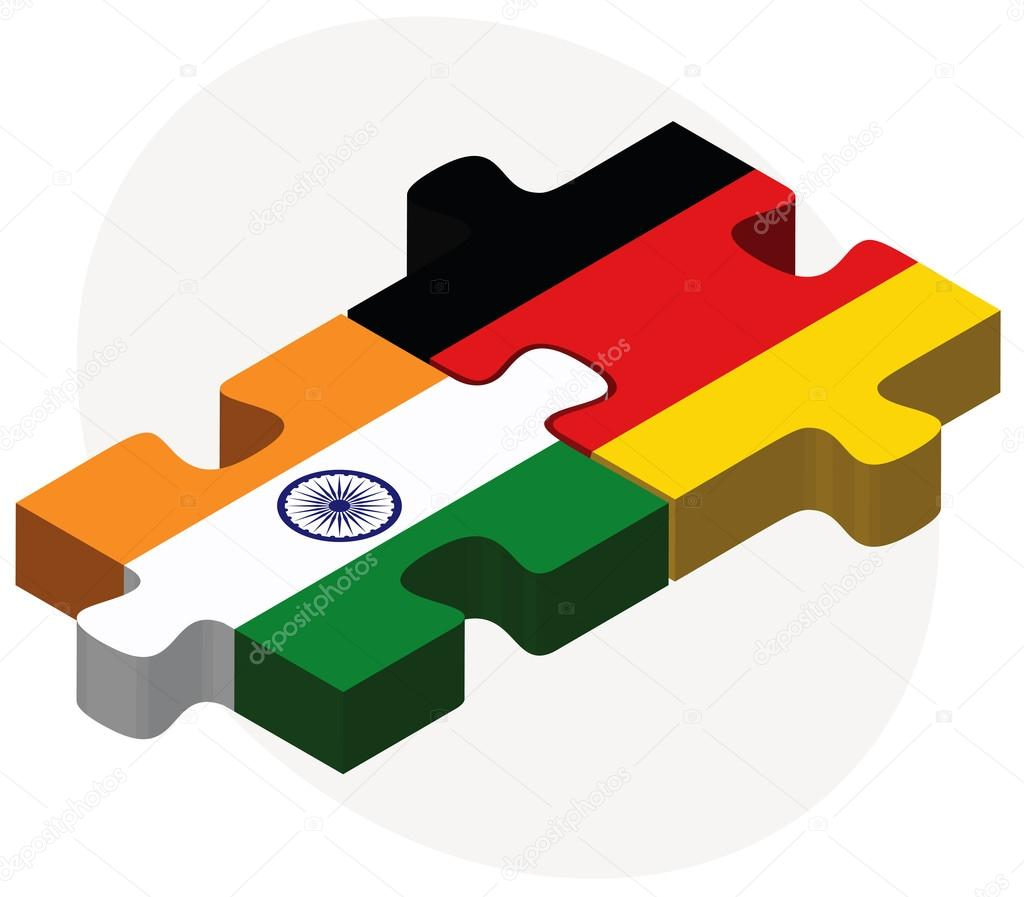 India and Germany Flags in puzzle