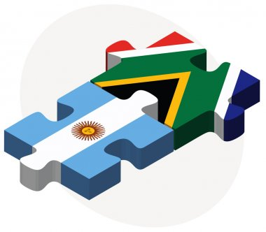 Argentina and South Africa Flags in puzzle