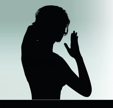woman silhouette with hand gesture touch the nose