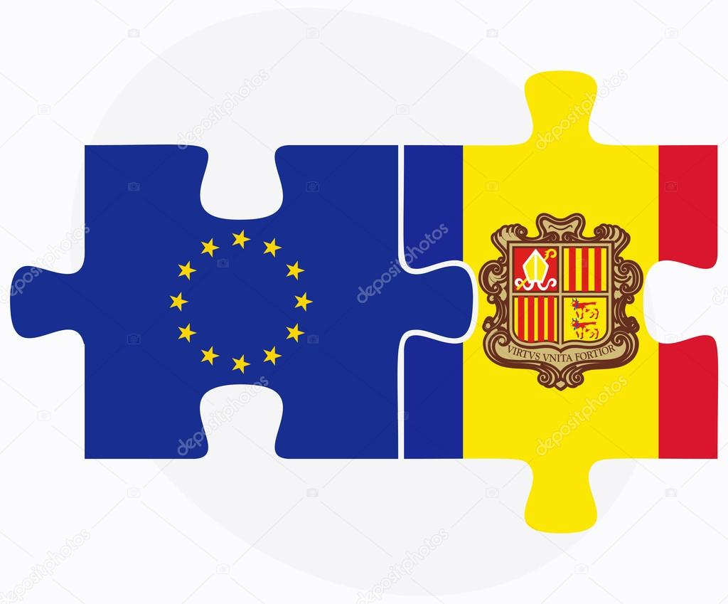 European Union and Andorra Flags in puzzle  isolated on white ba