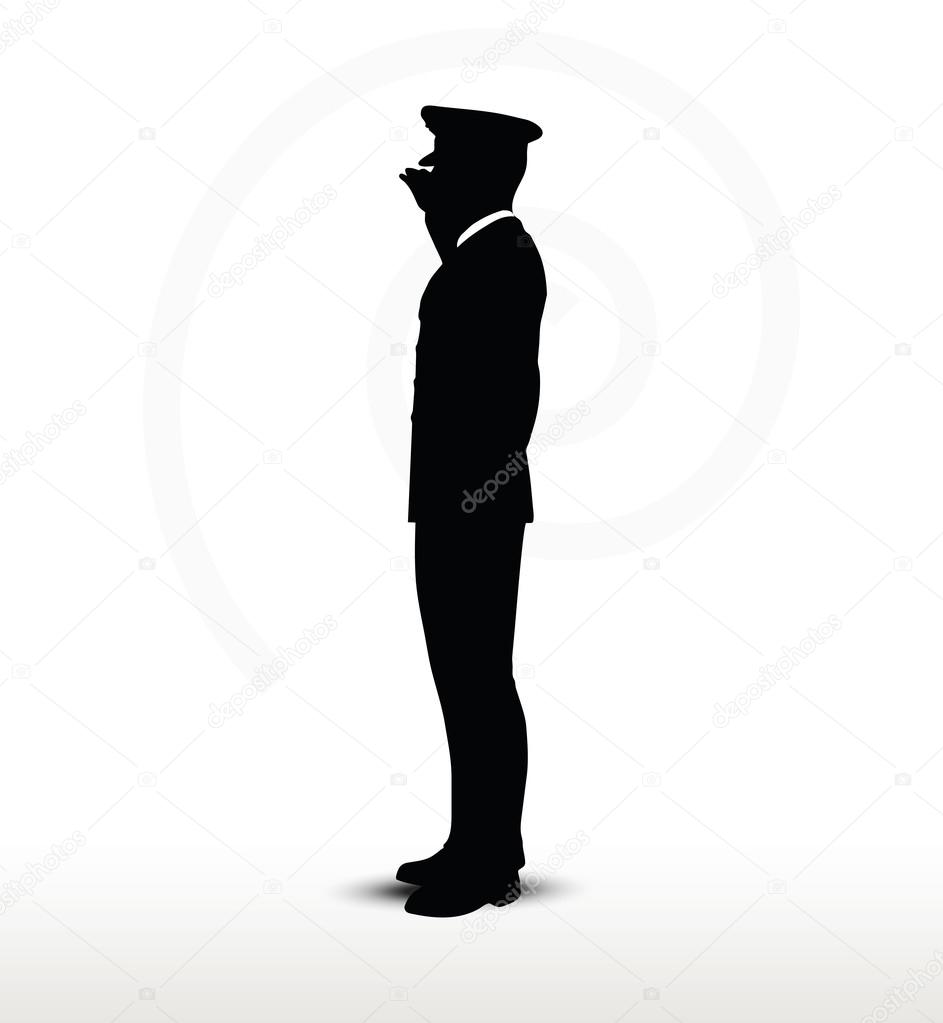 army general silhouette with hand gesture saluting
