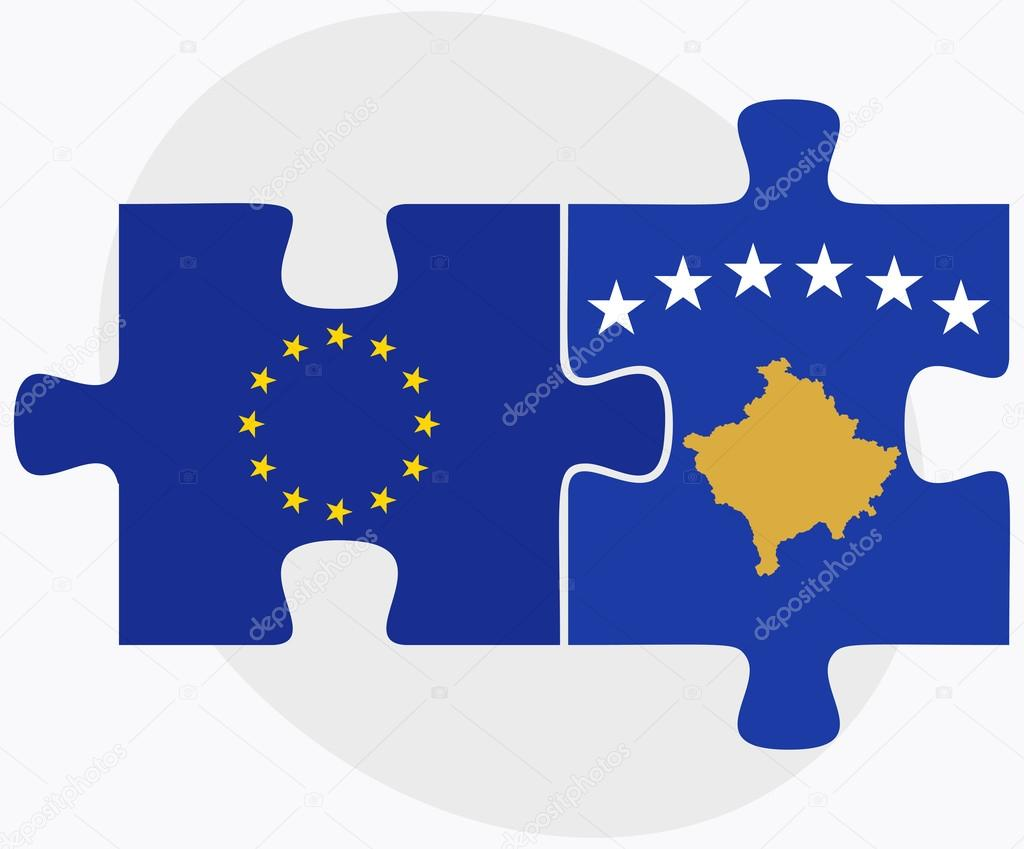 European Union and Kosovo Flags in puzzle