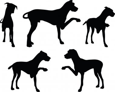 dog silhouette in shake hands pose