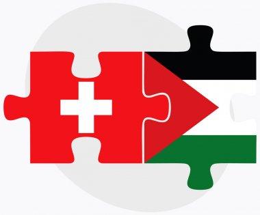 Switzerland and Palestine Flags