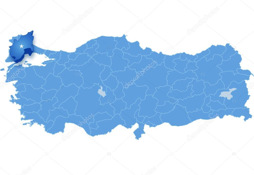 Map of Turkey Tekirdag Stock Vector Istanbul2009 80831226