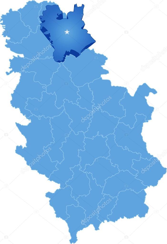 セルビア、細分化中央バナト郡の...