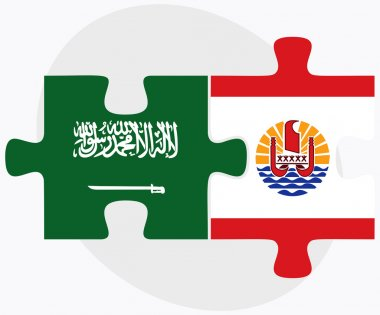 Saudi Arabia and French Polynesia Flags in puzzle isolated on white background clip art vector