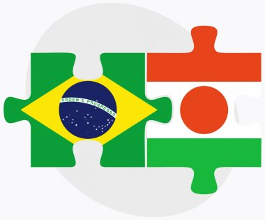 Brazil and Niger Flags in puzzle
