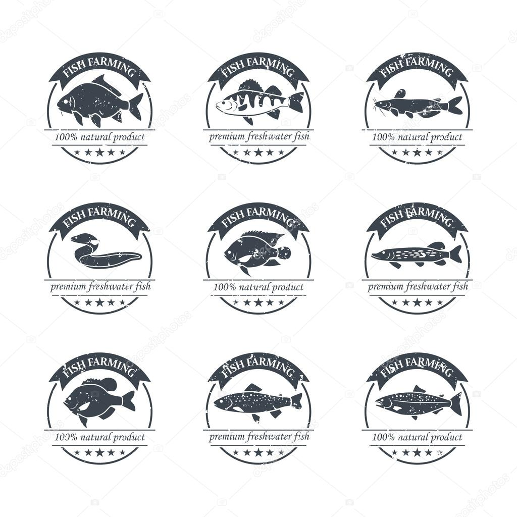 Perfect set of fish farming logos