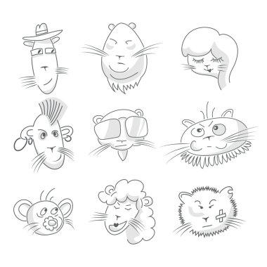 Cute cat icon set