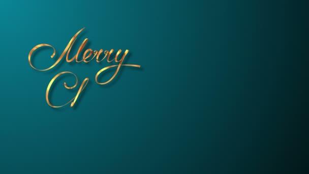 Zlatá stuha psaní Text Merry Christmas a vánoční strom nad azurovým pozadím