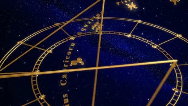 Armillarsphäre und Tierkreiszeichen. blauer Hintergrund