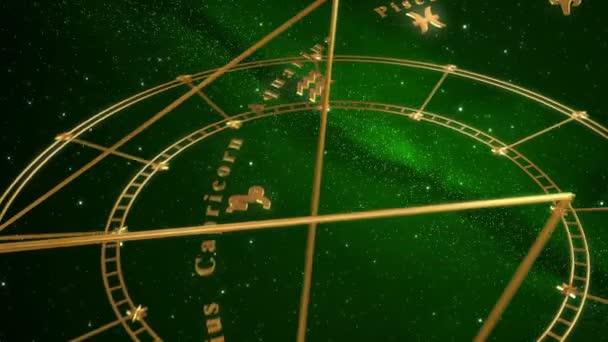 Armillarsphäre und Tierkreiszeichen. grüner Hintergrund