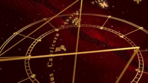 Armillarsphäre und Tierkreiszeichen. roter Hintergrund