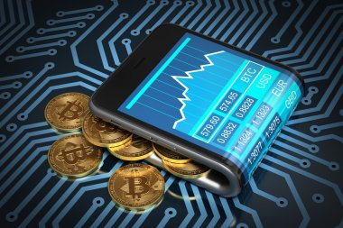 Concept Of Digital Wallet And Gold Bitcoins On Printed Circuit Board