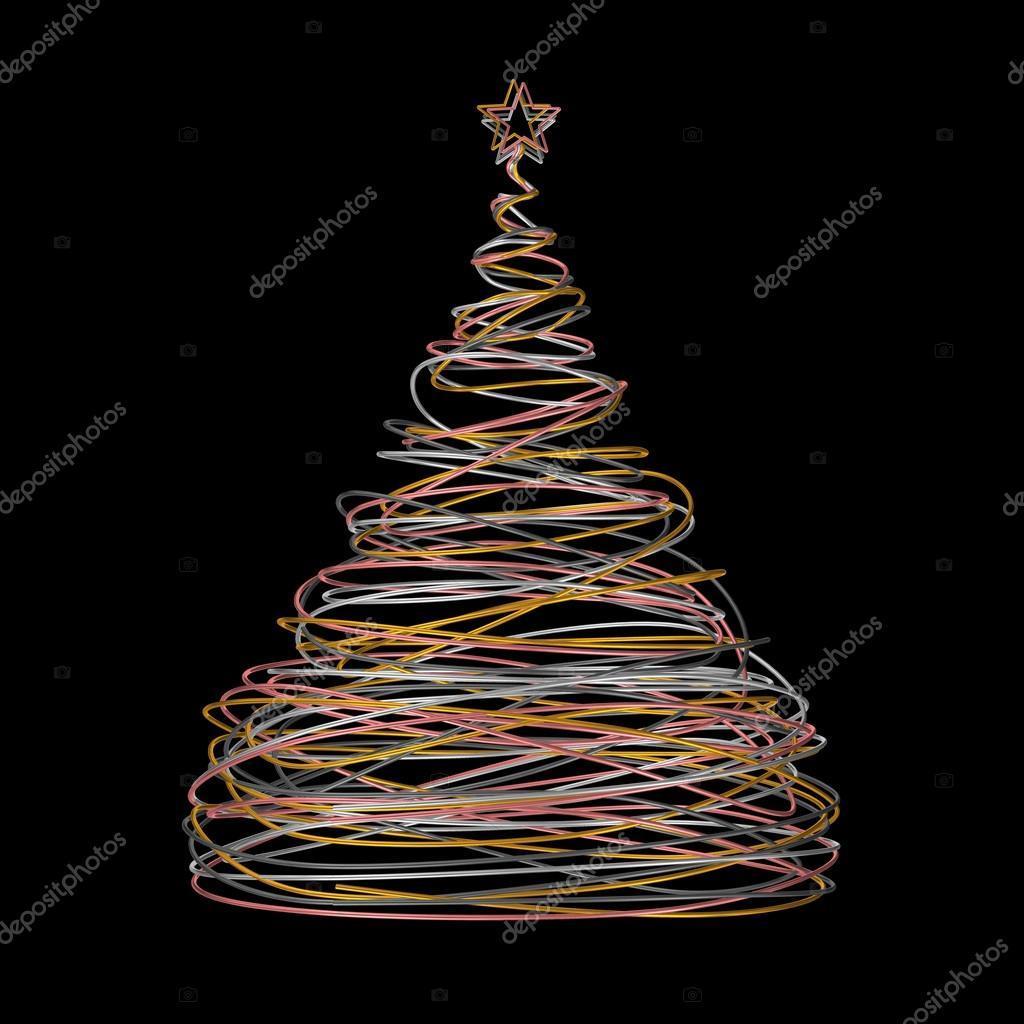 Weihnachtsbaum aus Gold, weiß, grau und rosa Draht auf schwarzen ...