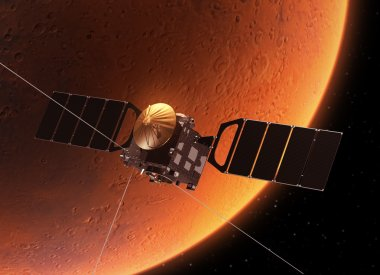 Spacecraft Orbiting Planet Mars