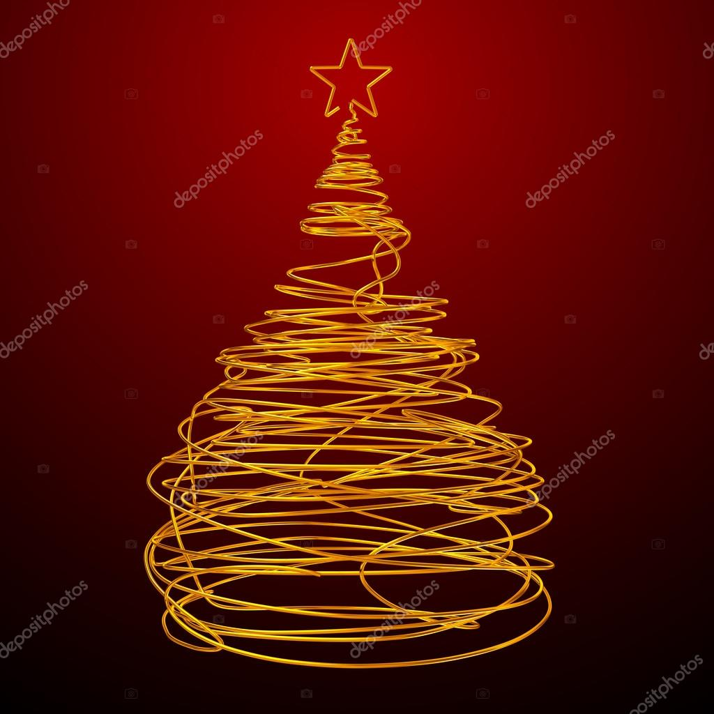 Weihnachtsbaum Gold Draht gemacht. Roter Hintergrund — Stockfoto ...