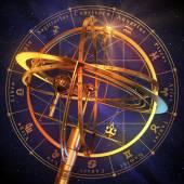 Oběžnic se symboly zvěrokruhu modré pozadí