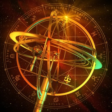 Armillary Sphere With Zodiac Symbols Over Red Background