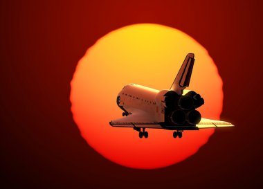 Space Shuttle Landing On The Background Of Sunset
