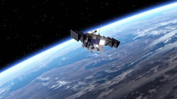 Satellite Deploys Solar Panels. Transition. Green Screen