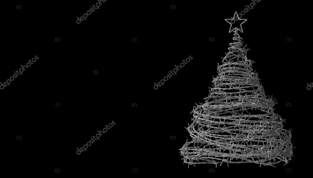 arbre de no l faite de fil de fer barbel sur fond noir photographie 3dsculptor 93530154. Black Bedroom Furniture Sets. Home Design Ideas