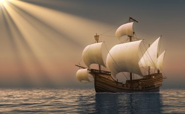 Caravel In Rays Of the Sun