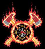 Feuerwehrmann mit Äxten und Flammen Kreuz