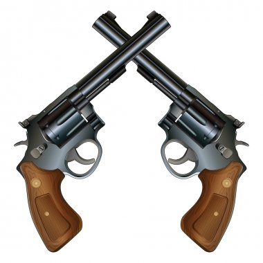 Crossed Pistols is an illustration of two crossed revolver style handguns with wood grips in a detailed realistic style. stock vector
