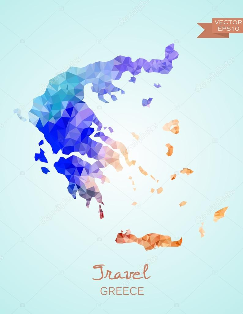 Low Poly Greece Map — Stock Vector © superson #73006597