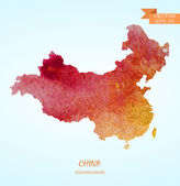 Photo watercolor map of China