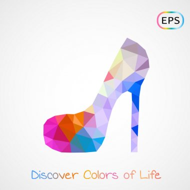 poly woman's colorful shoe isolated