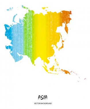 pencil stroke map of Asia