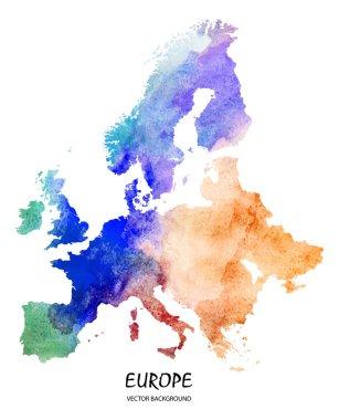 watercolor map of Europe