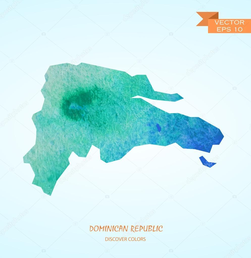 Watercolor Map Of Dominican Republic Stock Vector Superson - Dominican republic map vector
