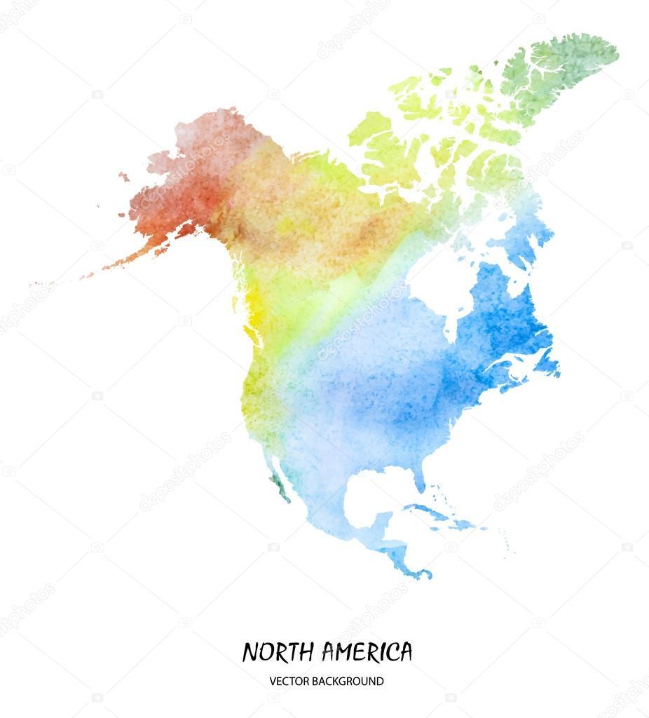 Watercolor Map Of North America  Stock Vector  Superson - Download map of north america