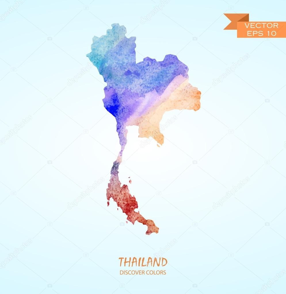 watercolor map of Thailand — Stock Vector © superson #73019777