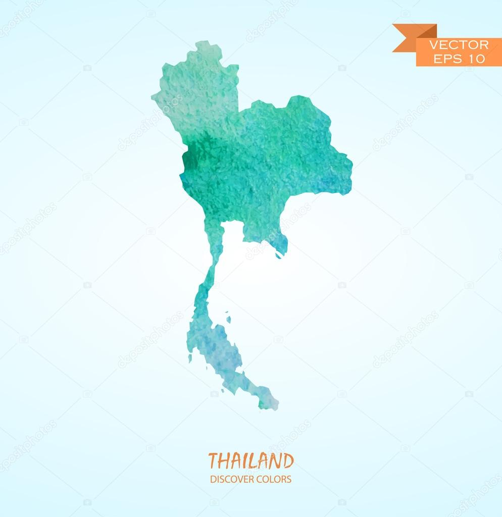 watercolor map of Thailand