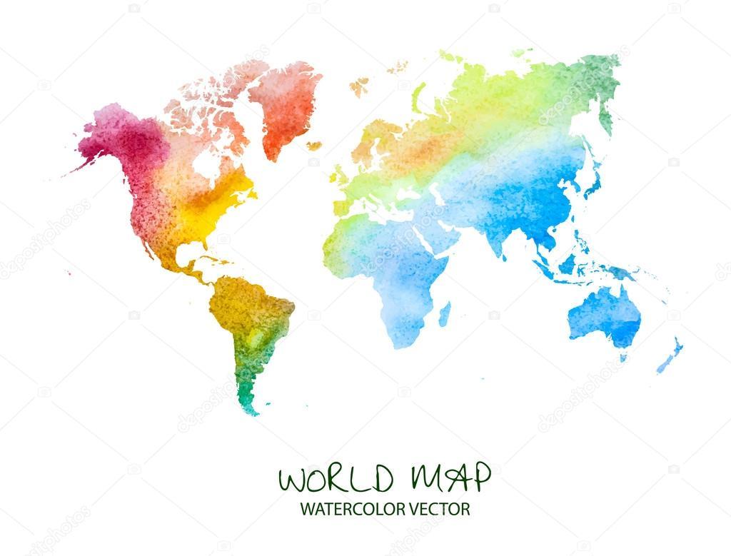 Watercolor World Map Wallpaper Watercolor World Map Stock