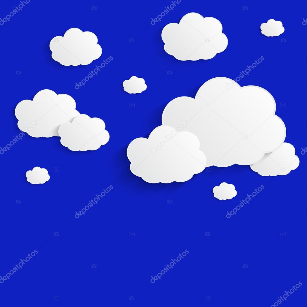 white paper clouds over blue