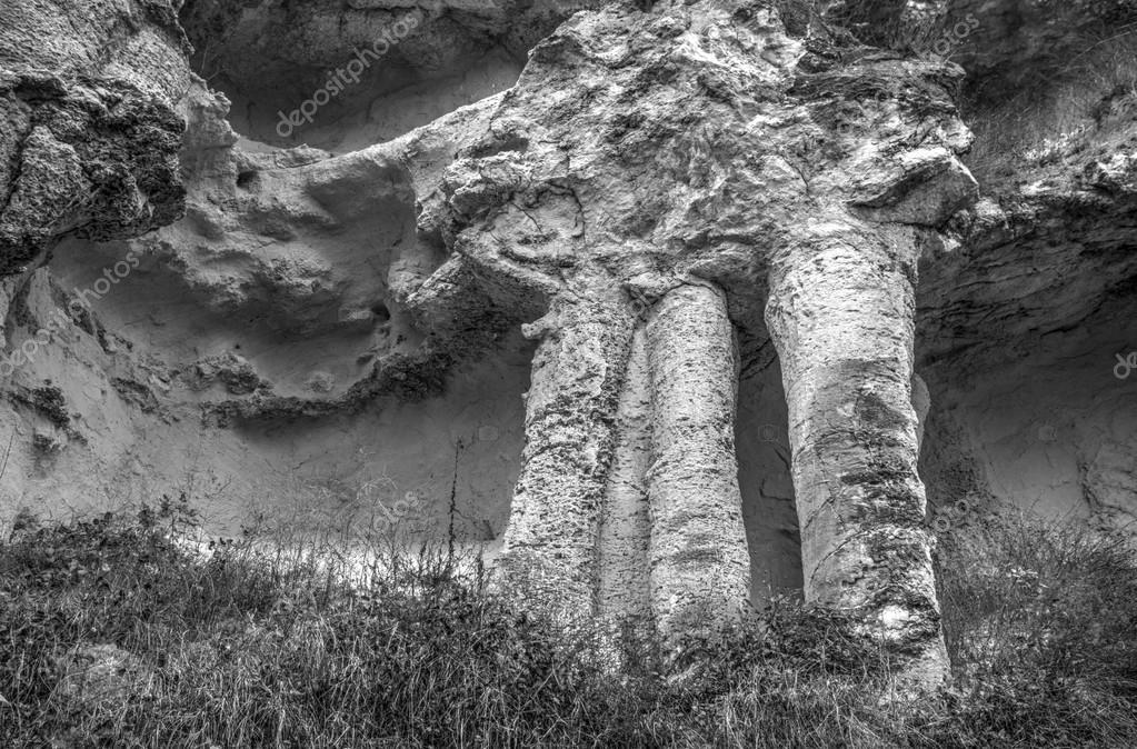 Rock phenomenon in black and white