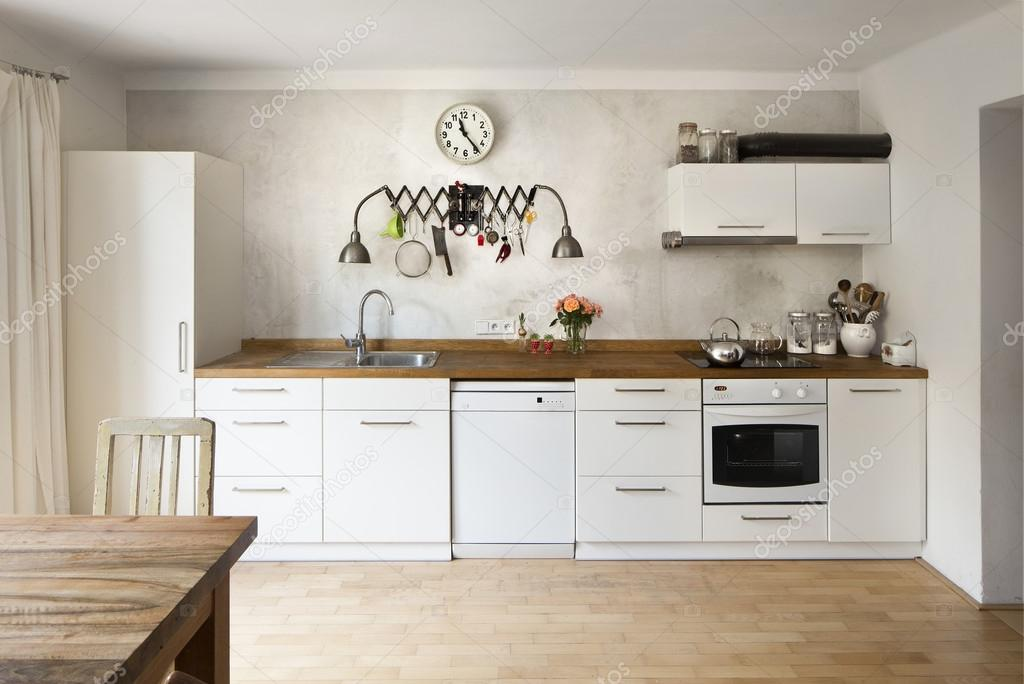 New Kitchen In A Very Modern Retro Industrial Style U2014 Stock Photo
