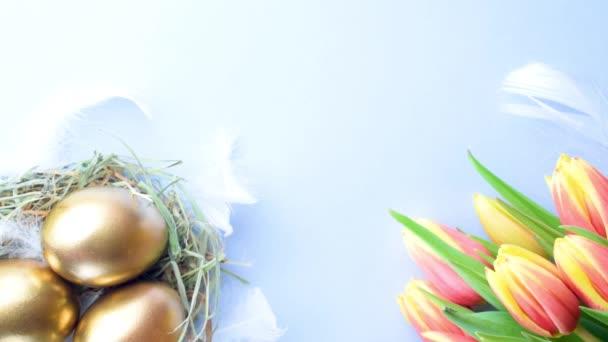 Arany tojás kosárban tavaszi tulipán, fehér toll pasztell kék háttér Boldog Húsvéti dekorációt. Foil minimalista tojás design, modern felső nézet design
