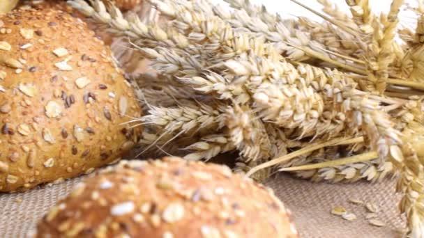 Rustikaler Roggen. Frischer Laib rustikales traditionelles Brot mit Weizenähre oder Ährenpflanze auf Leinentextur Hintergrund. Bäckerei mit knusprigen Broten und Brotkrumen. Gestaltungselement für die Etikettierung von Backwaren
