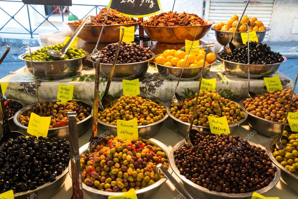 Olives in market